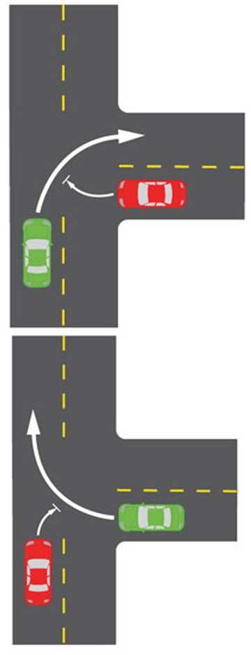 T-JUNCTION: Cars turning right into a side street at an uncontrolled T-junction will have the right of way over a car turning right from that street  unlike the current system below.