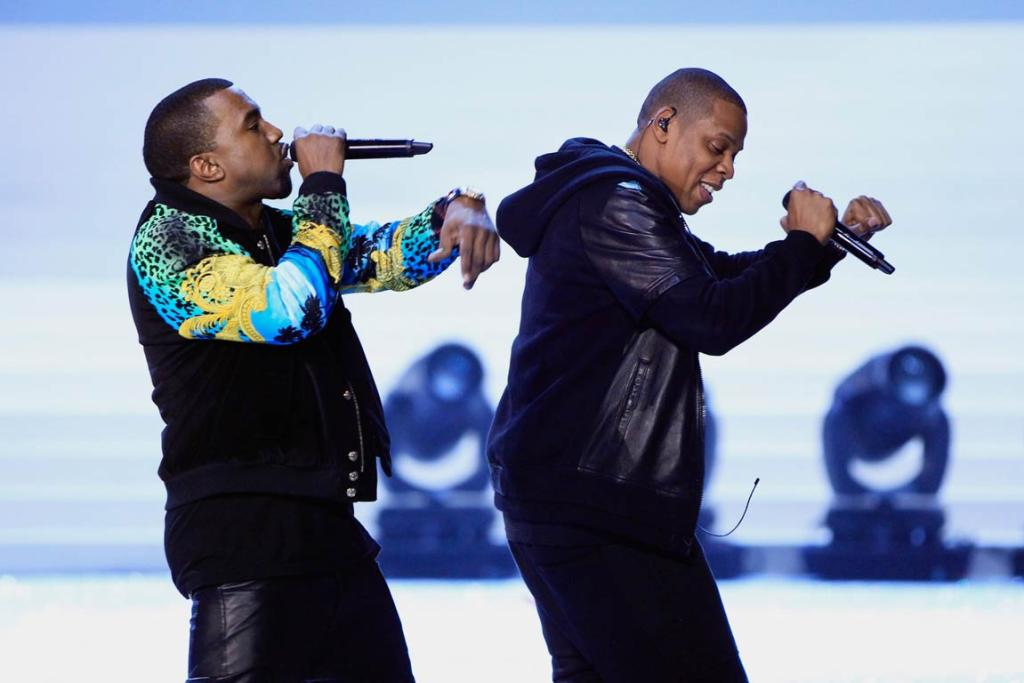 Rappers Kanye West and Jay-Z perform during the Victoria's Secret Fashion Show.