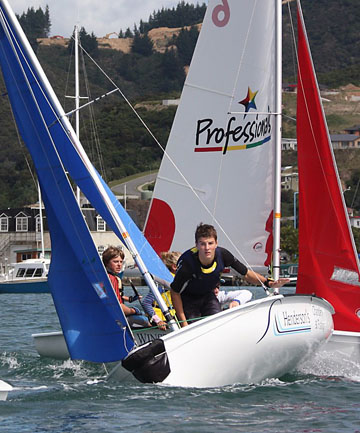 Sea skills: A previous year's Marlborough Boys' and Queen Charlotte College sailing teams train for the nationals