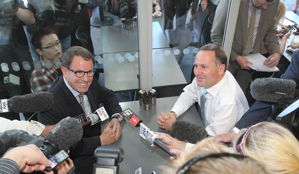 BANK ON IT: John Key and John Banks met for a cuppa this afternoon.