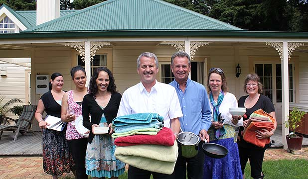HELPING HAND: Te Puna o te Aroha Maori Women's Refuge representatives, from left: Danielle Barlow, Regina Ropira and Carla Klink and Rotary Club of Whangarei City members Kevan Summerlee, David Martin, Henriette Politano and Lynley Summerlee are on the hunt for donations of household items for Whangarei's two women's refuges.