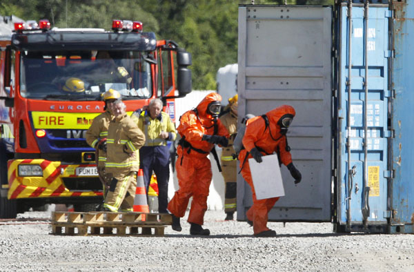 Picton and Blenheim Volunteer Fire Brigade attend the scene of a chemical spill at the Picton Railway Yards
