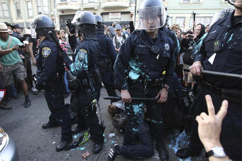 New York police clear Occupy Wall Street protesters.
