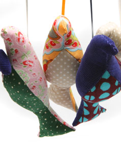 FESTIVE BIRDS: Fabric-stuffed birds make fun Christmas decorations, with tools you can
