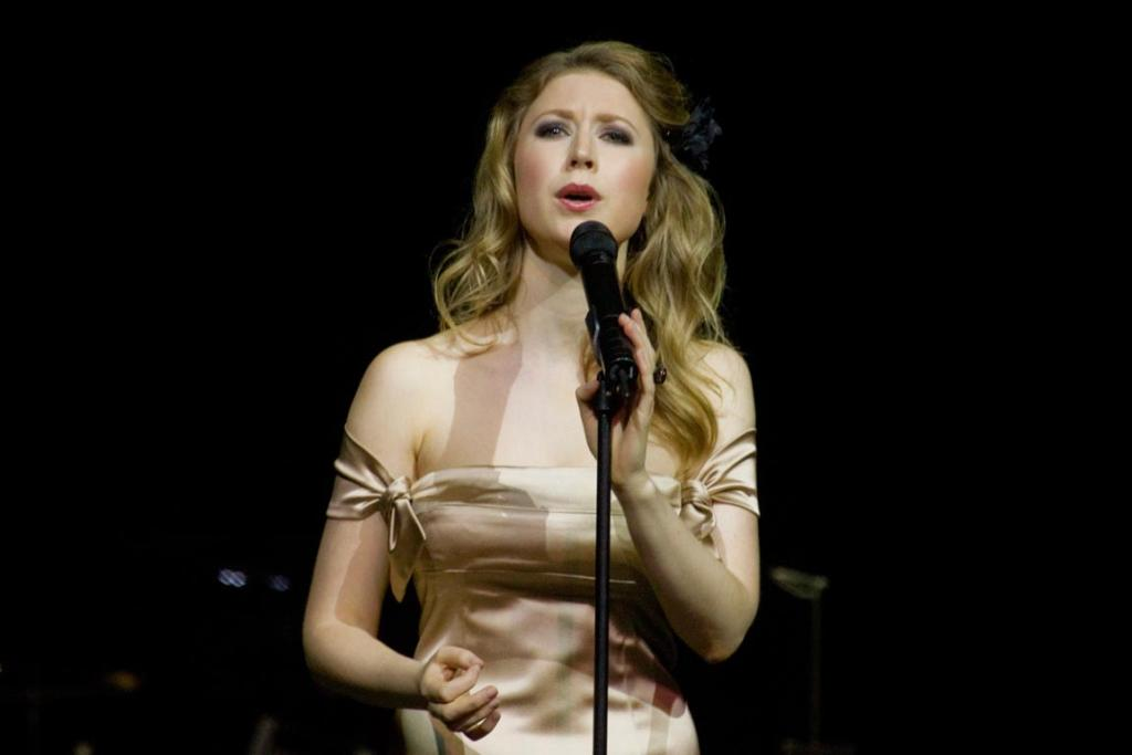 Hayley Westenra performing at the CBS arena in Christchurch.