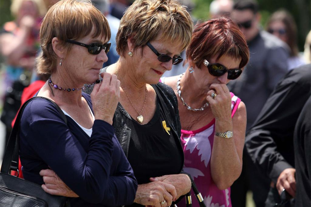 ONE YEAR ON: Family members of the Pike River victims at the unveiling of the memorial.