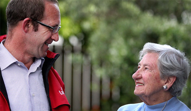 SPLIT VOTE: New Plymouth Labour Party candidate Andrew Little and his mother, Cicely, who has been a National Party supporter for 30 years.