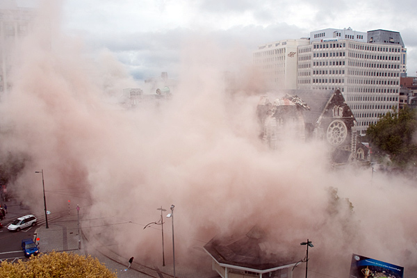 Andrew Hewson's photo of dust clouds engulfing the Square and police kiosk on February 22.