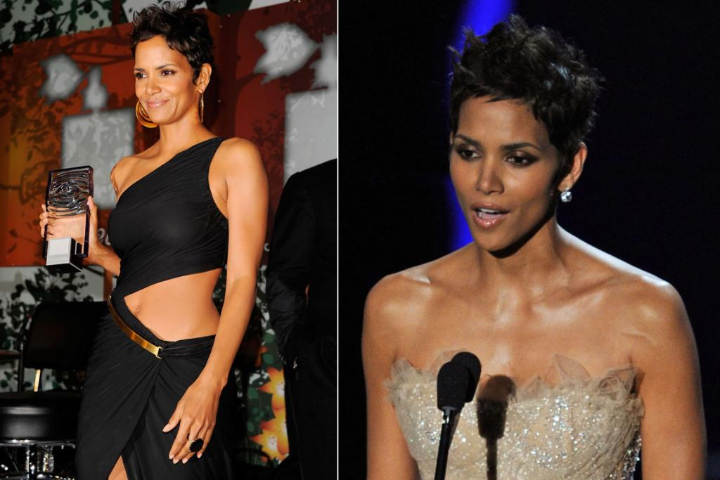 Halle Berry shows off her enviable abs.