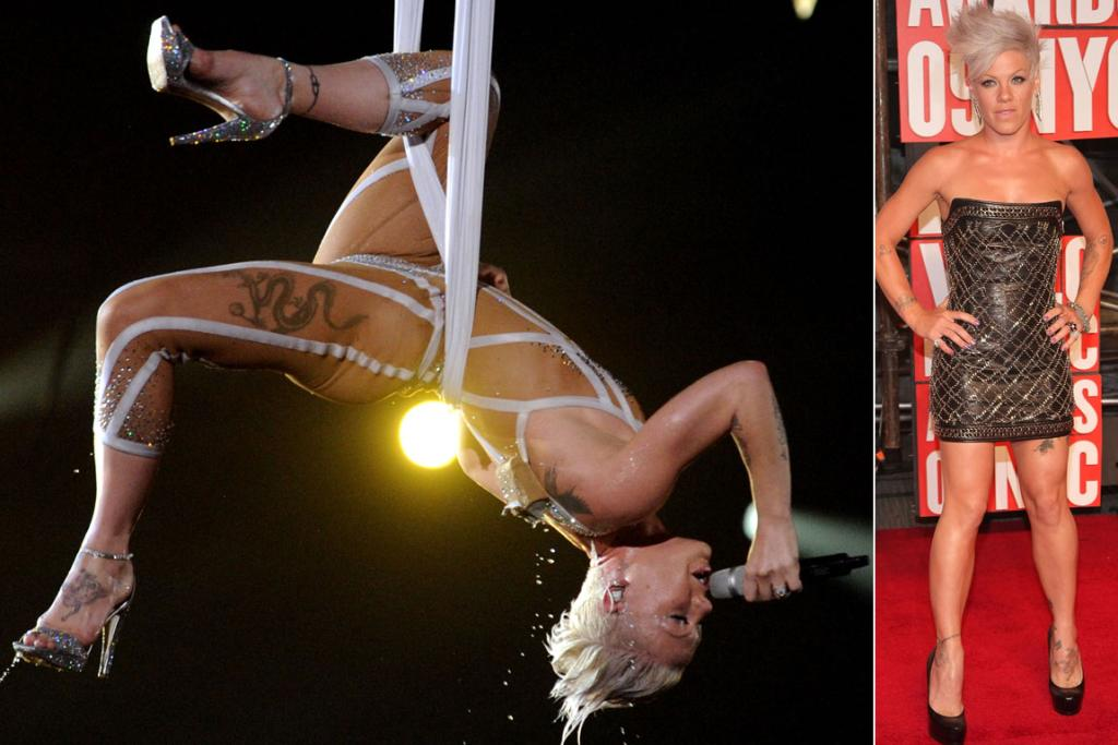Super-fit Pink even incorporates exercise into her stage shows.
