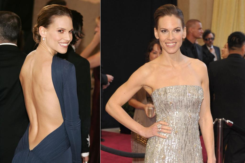 Hilary Swank's backless gown was the talk of the 2005 Acadamy Awards.