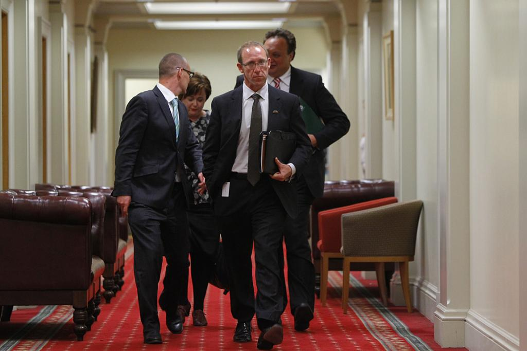 Andrew Little leaving the caucus meeting.