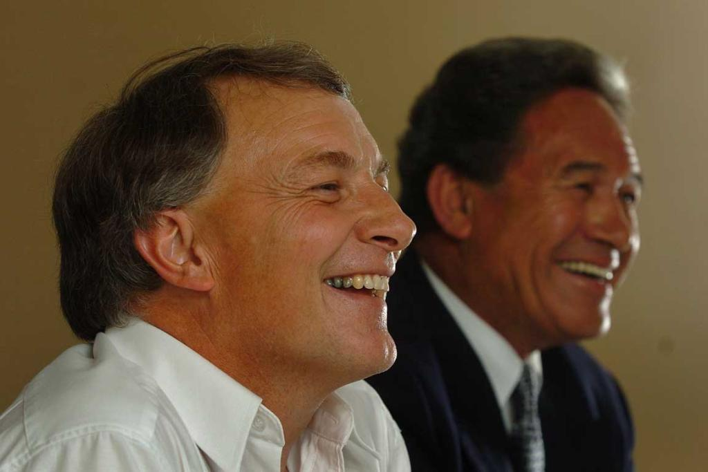 Phil Goff, at the time Minister of Defence and Trade, left, and Winston Peters, at the time Minister of Foreign Affairs, during a press conference after meeting US senators in 2006.