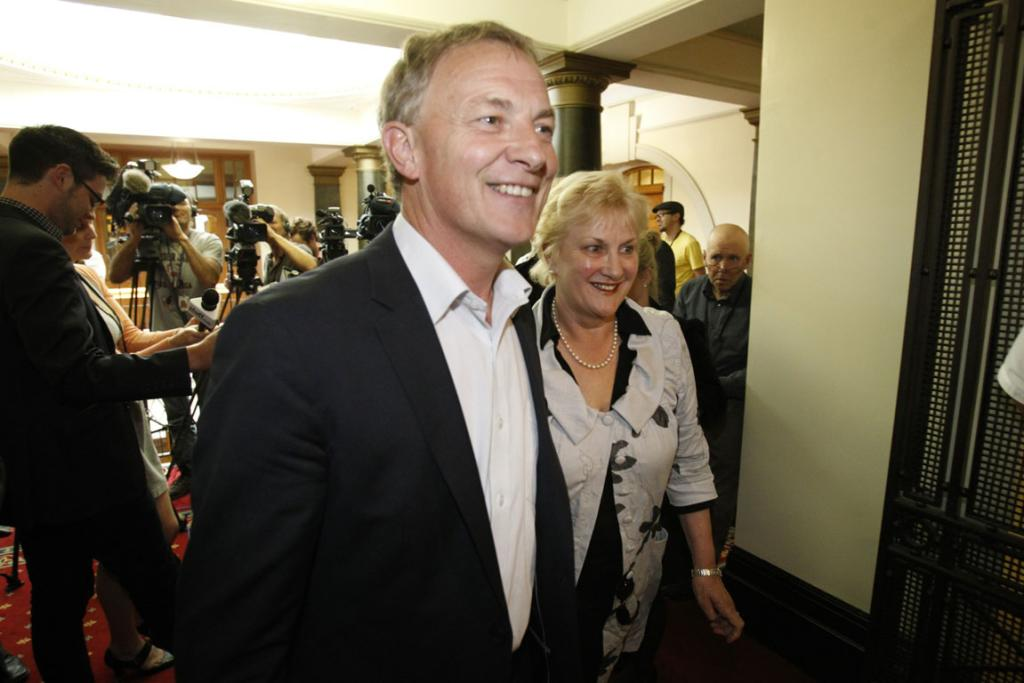 Phil Goff and Annette King leave the meeting where they announced they will step down.