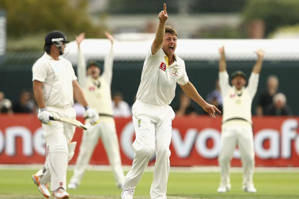 Australia's James Pattinson appeals for a lbw decision on the first day of the Second Test against New Zealand at Bellerive Oval, Hobart.