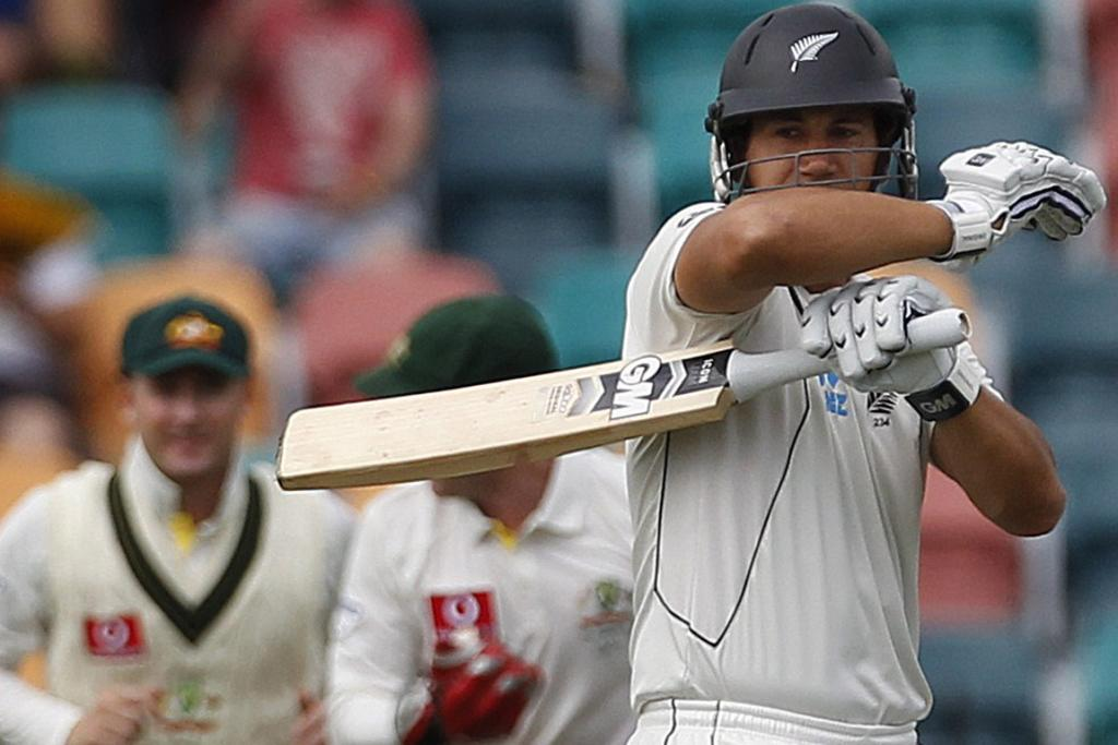 New Zealand captain Ross Taylor reacts after his dismissal on the first day of the Second Test against Australia at Bellerive Oval, Hobart.