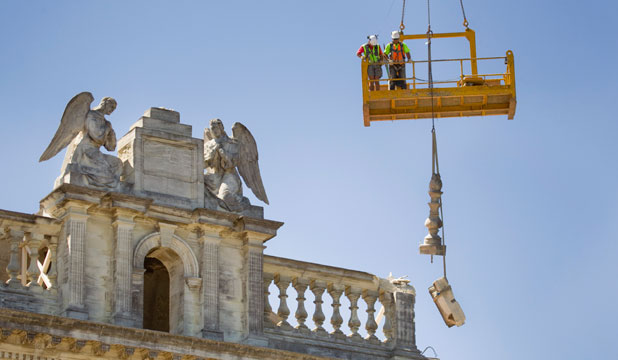 Work continues on dismantling the Cathedral of the Blessed Sacrament piece by piece.