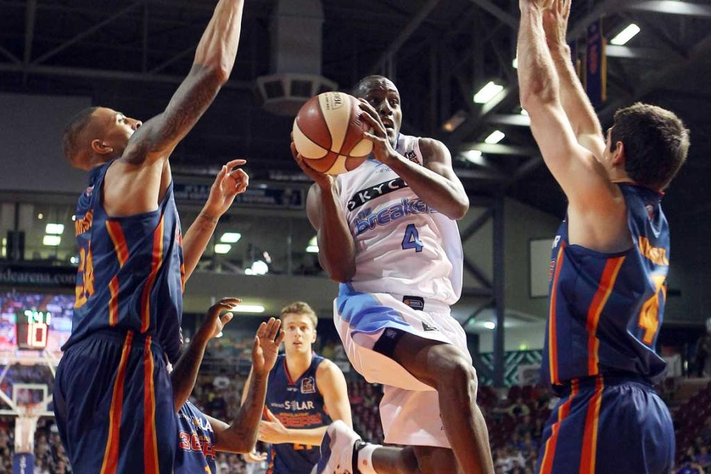 Cedric Jackson of the Breakers goes for the basket against the Adelaide 36ers.