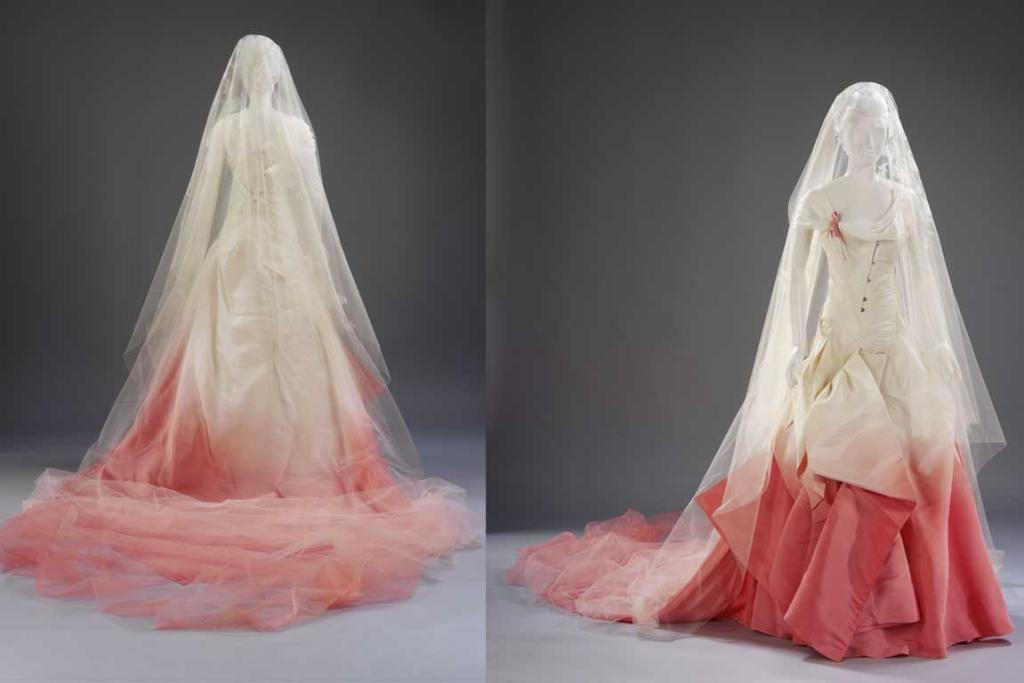 Silk faille wedding dress and silk net veil decorated with antique lace, John Galliano for Dior, Paris, 2002. Lent and worn by Gavin Rossdale and Gwen Stefani for their wedding in London on 14 September 2002