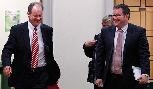 LABOUR'S MAN: New Labour leader David Shearer (L) emerges from the caucus meeting with his deputy Grant Robertson.