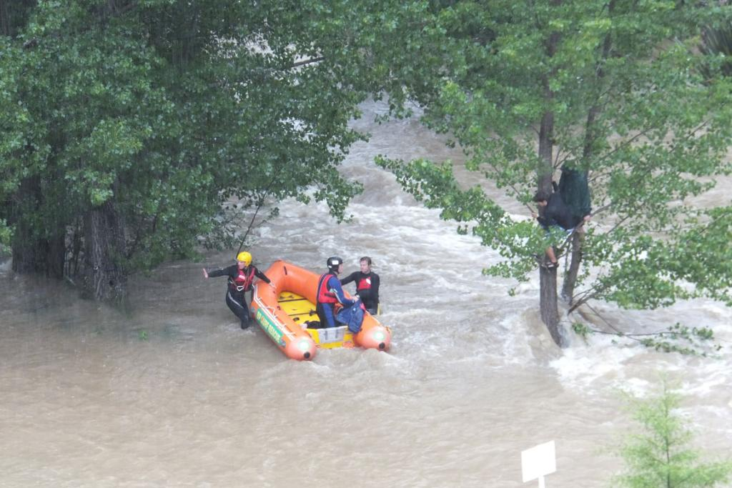 The stranded tourists were rescued by emergency services.