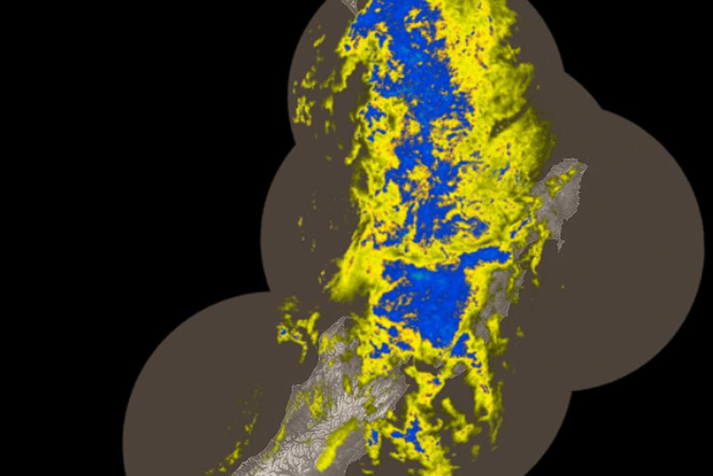 The MetService's rain radar, from early this morning, shows the front moving off the South Island and resting over the North.