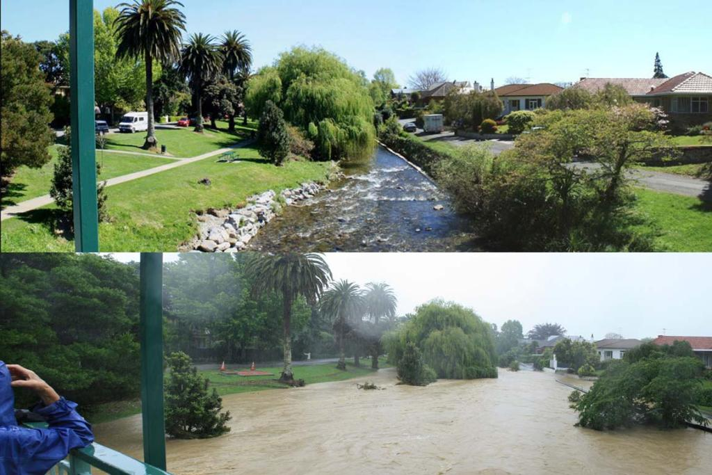 A comparison between the normal flow of the Maitai River and the flooded flow.