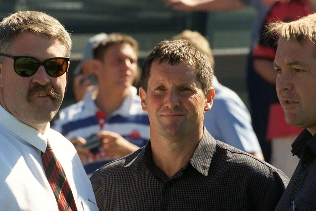 The old firm of (from left) Canterbury Rugby chief executive Steve Tew, Canterbury coach Robbie Deans and assistant coach Steve Hansen in 2000.