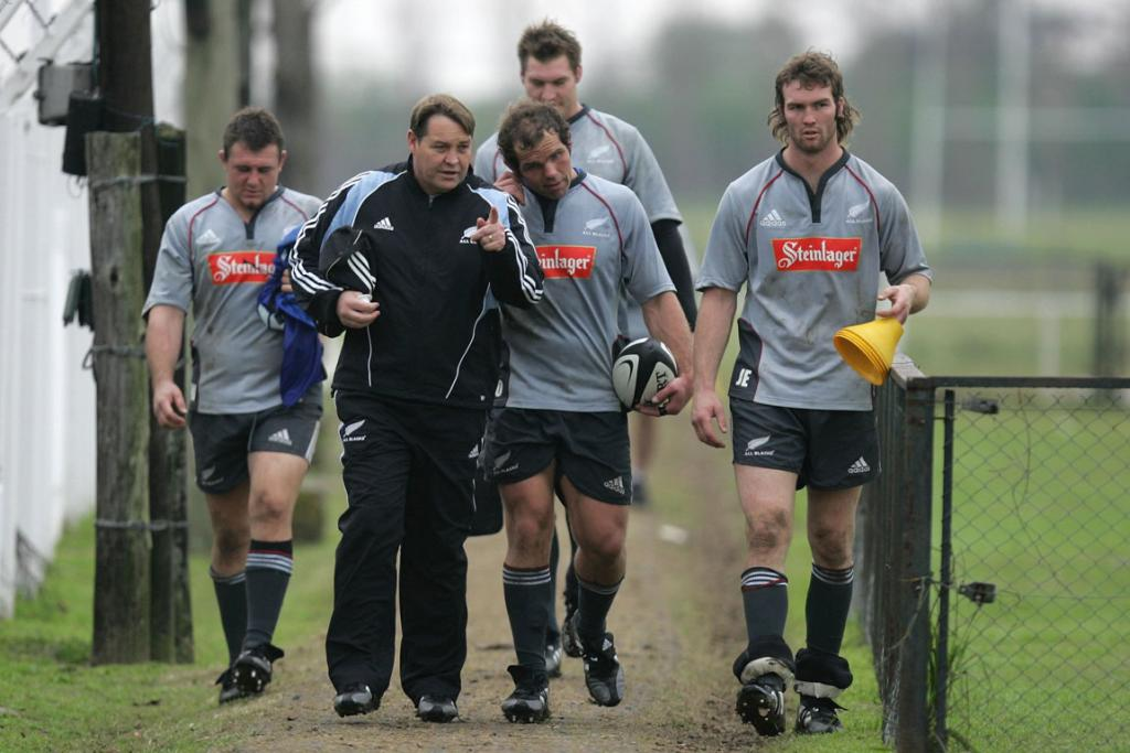 Steve Hansen after All Blacks training in Buenos Aires in 2005. From left are Tony Woodcock, Anton Oliver, Ali Williams and Jason Eaton.