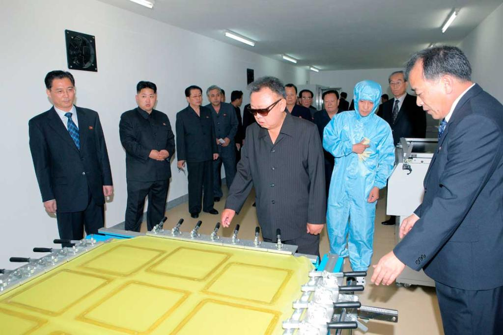 North Korean leader Kim Jong Il and his son Kim Jong Un visit Mokran Video Company in Pyongyang in this undated picture.