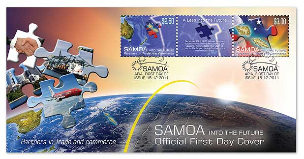 The first day cover to mark Samoa's change on the international dateline.