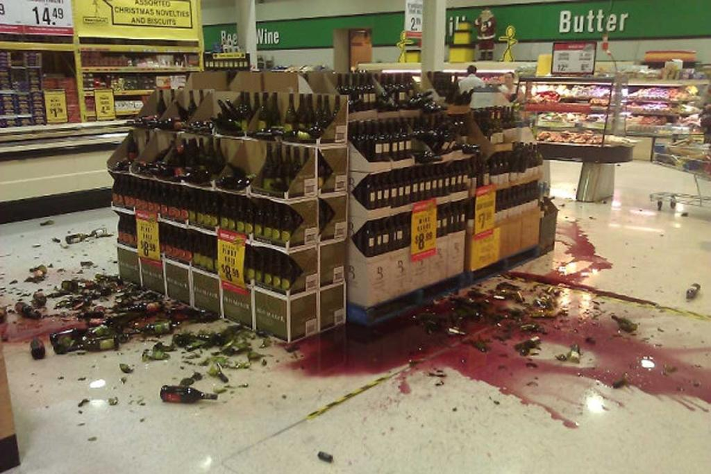 Broken wine bottles in a supermarket