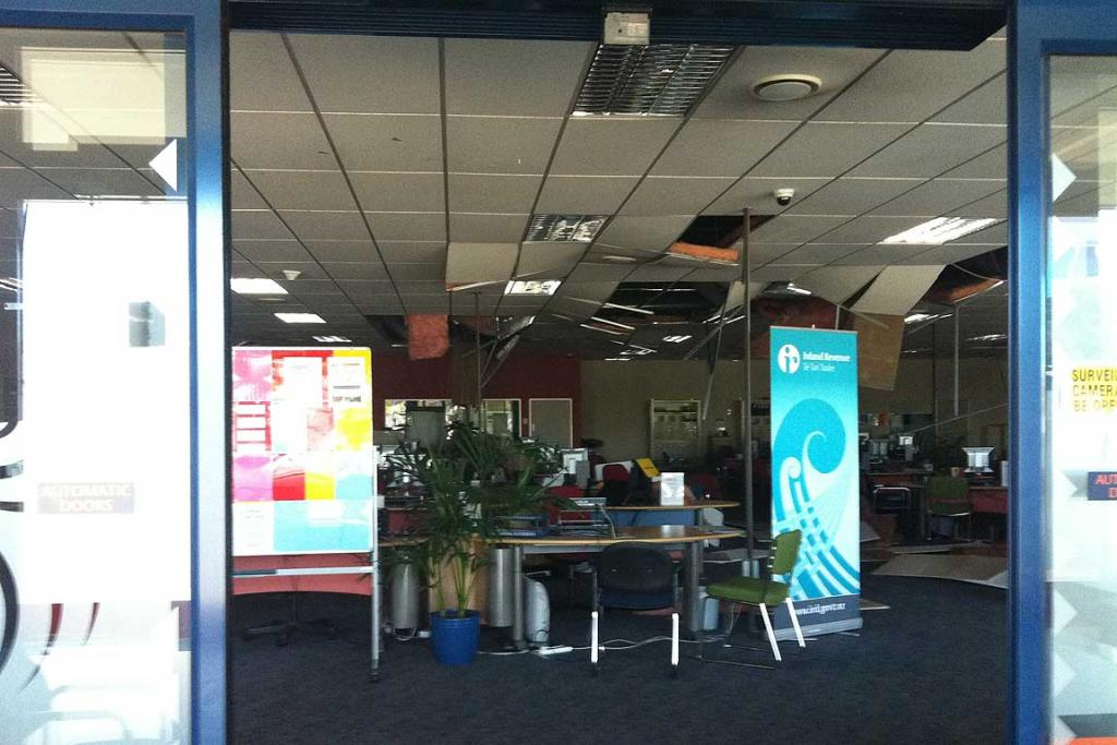 Ceiling panels have fallen down in the WINZ office on Beresford St in New Brighton.