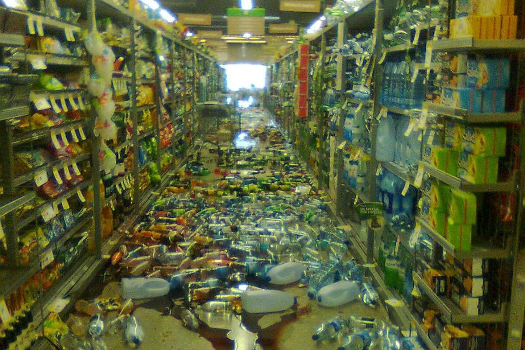 Goods from the shelves strew the aisles of Countdown Northwood soon after the 1.58pm earthquake