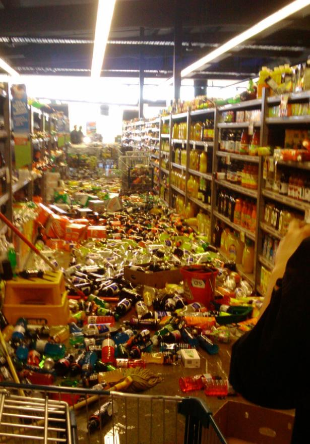 Stock flew off the shelves at a supermarket in Christchurch.