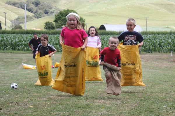 AND THEY'RE OFF: An early entry from Michelle Trubshaw of a Christmas party sack race in Kairangi