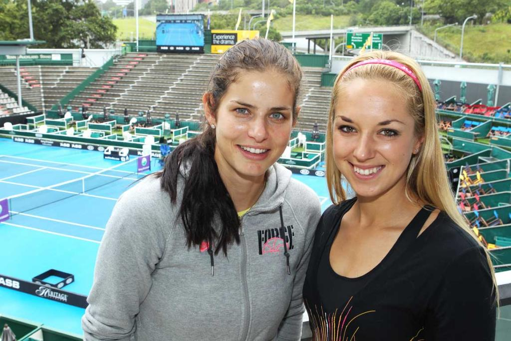 Sabine Lisicki  and Julia Goerges meet the press prior to the 2012 ASB Classic.