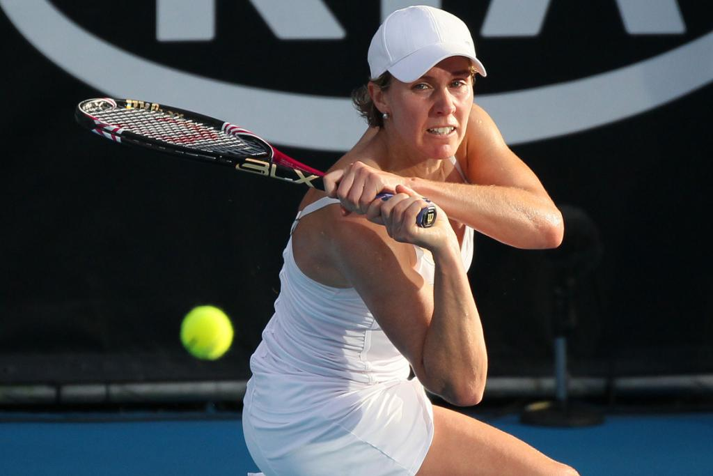 Greta Arn from Hungary returns a shot to Julia Goerges from Germany on the second day of the ASB Classic in Auckland.