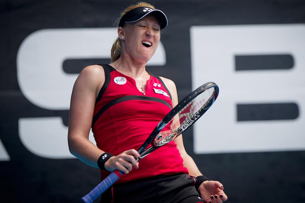 Elena Baltacha in action against Flavia Pennetta in the preliminary rounds of the women's ASB Classic tennis in Auckland.