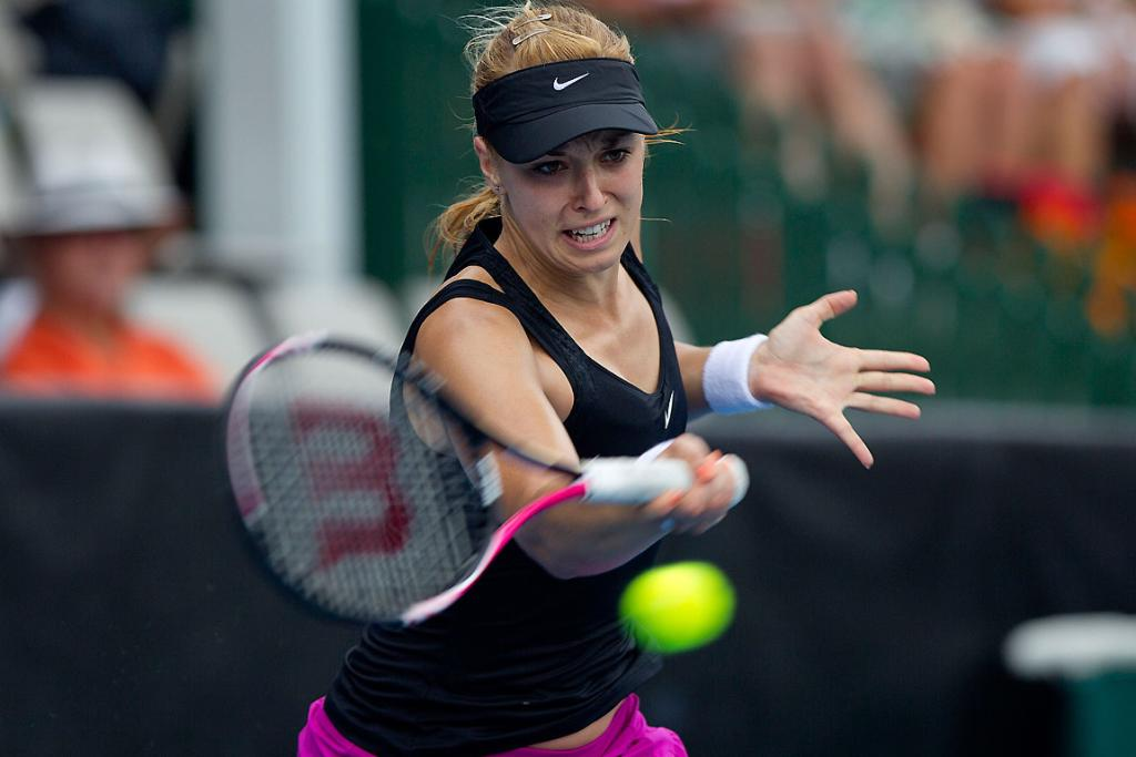 Sabine Lisicki takes on Mona Marthel in the preliminary rounds of the women's ASB Classic tennis in Auckland.
