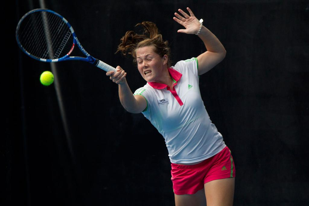 New Zealand's Emily Fanning plays doubles alongside Russian Regina Kulikova in the preliminary rounds of the women's ASB Classic tennis in Auckland.