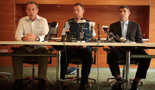 Deputy chief investigator for TAIC (Transport Accident Investigation Commission) Peter Williams, left, Police Area commander Inspector Brent Register, and Nathan Guy at Saturday's press conference regarding the fatal balloon accident near Carterton.