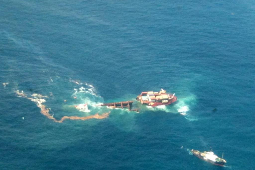 The rear end of the Rena is slipping off the Astrolabe Reef.