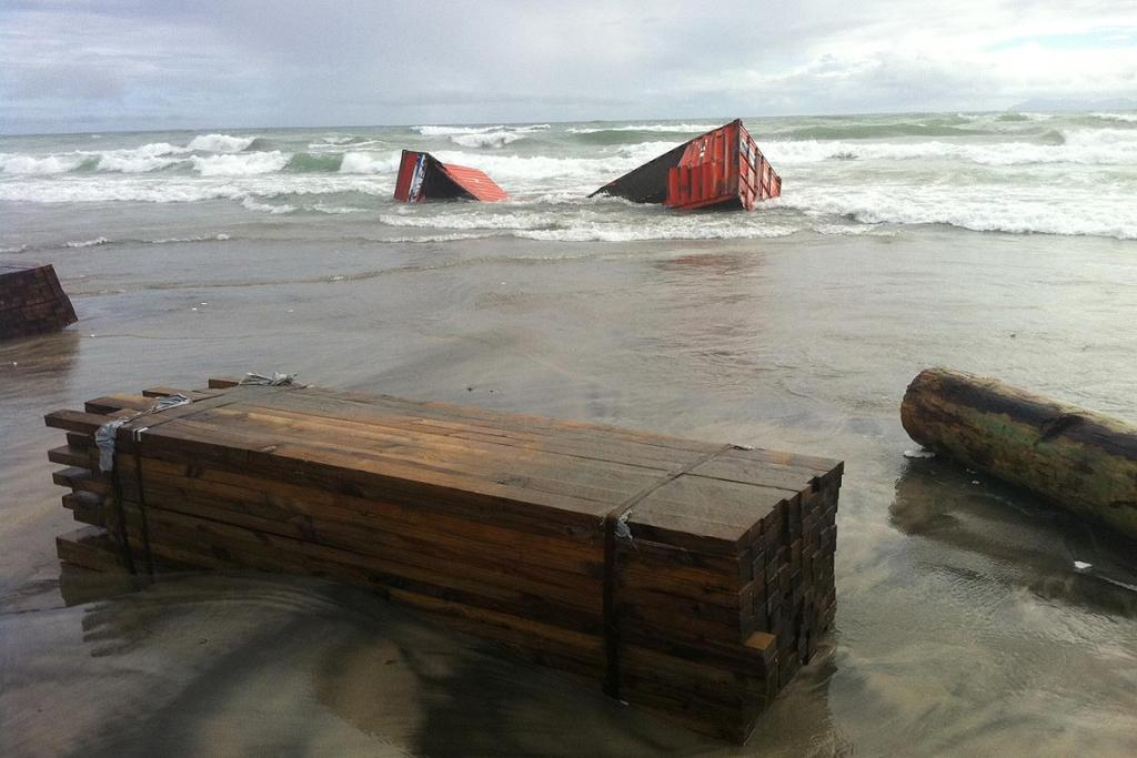 Cargo washed up from a wrecked container on Waihi beach.