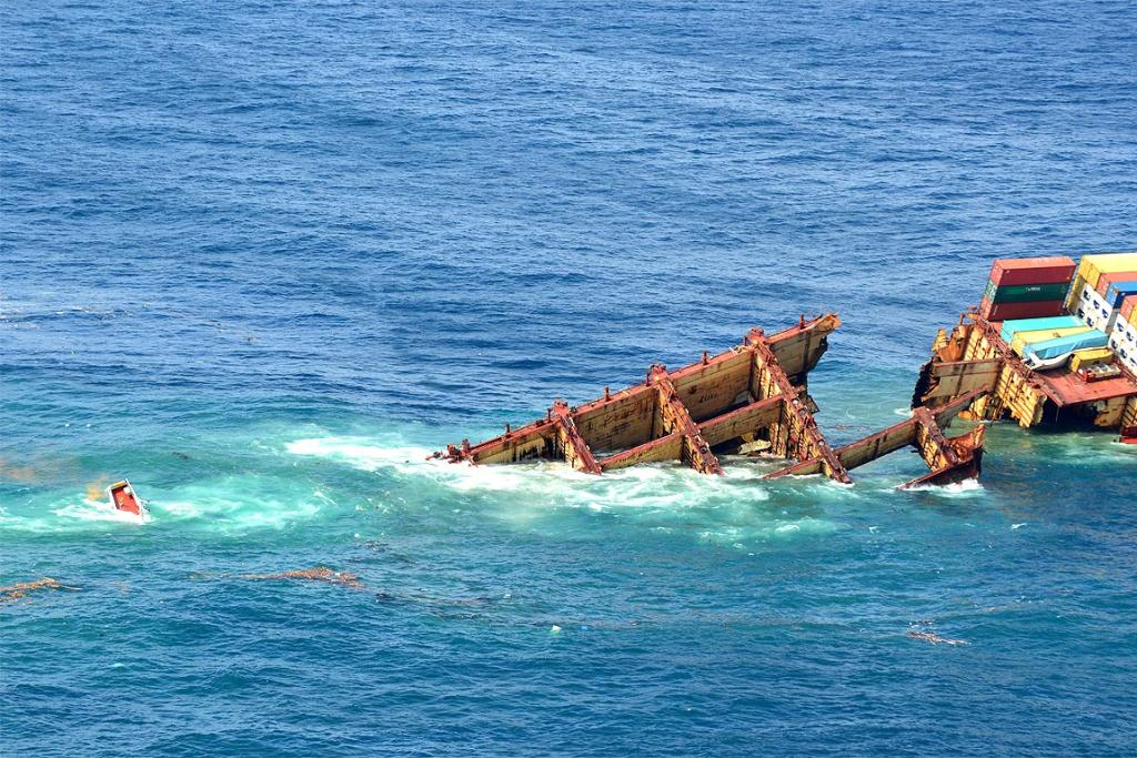 The rear section of the Rena slipped off the Astrolabe reef.
