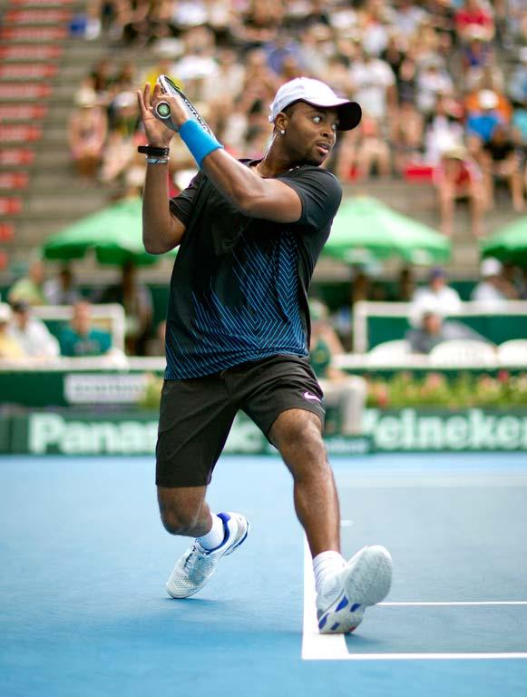 USA's Donald Young, pictured, takes on Alejandro Falla in the preliminary rounds of the men's Heineken Open in Auckland on day one.