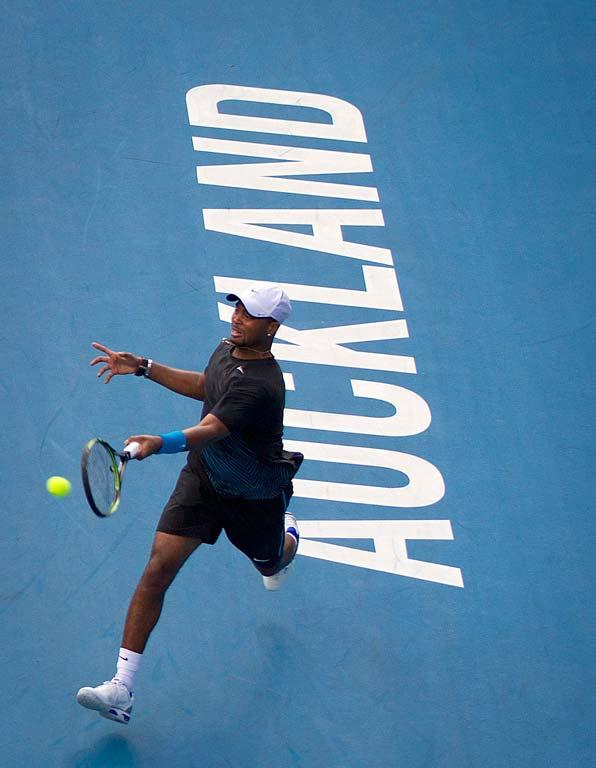 Donald Young of the USA in action on day one of the Heineken Open in Auckland.