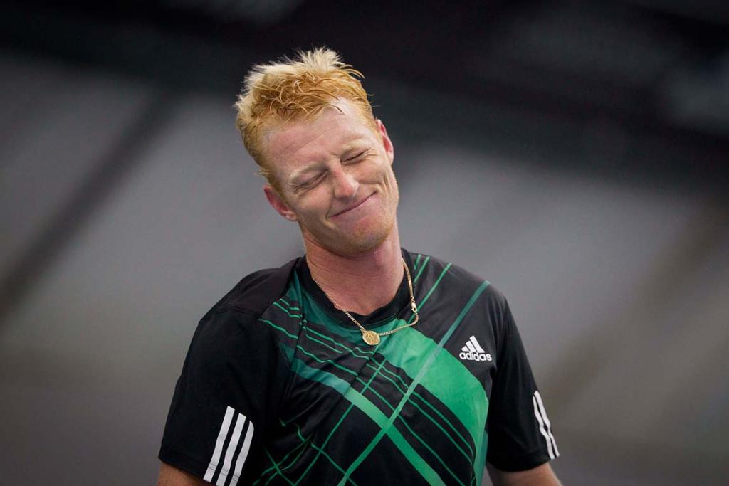 New Zealander Daniel King-Turner grimaces during his match against Javier Marti of Spain in the qualifiers for the men's Heineken Open.