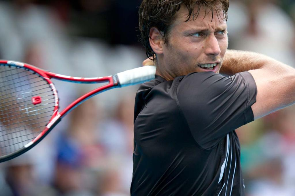 New Zealander Artem Sitak during the preliminary rounds of the men's Heineken Open in Auckland.
