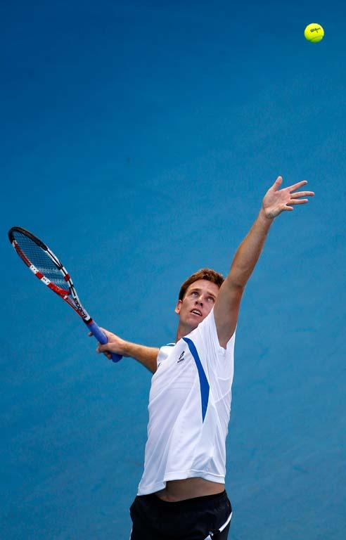 New Zealand's Michael Venus during his first round singles match at the 2012 Heineken Open in Auckland.